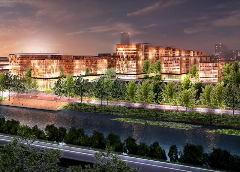 Village olympique de nuit, vue d'architecte