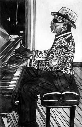 dessin de Willie Birch représentant un pianiste aveugle
